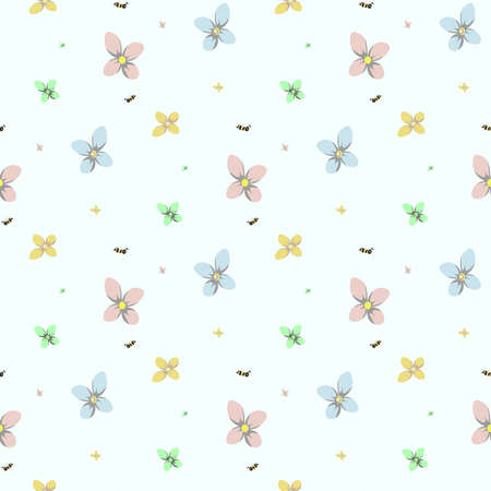 Seamless flower and bee pattern. Colorful flowers with cute bee. Vector illustration.