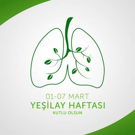 Yesilay haftasi design, Healthy life, vector illustration. (01-07 March social awareness week against drugs, Turkey awareness week card.)