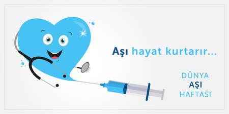 Vaccination week, vaccine saves lives design. Translate: Vaccination week, vaccine save lives. Vector illustration.