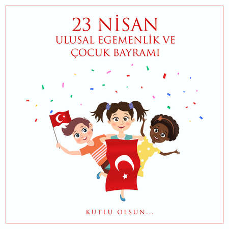 April 23 National Sovereignty and Children's Day, hand drawn. Translate: Turkish 23 April Childrens Day. Vector Illustration. Vector Illustration