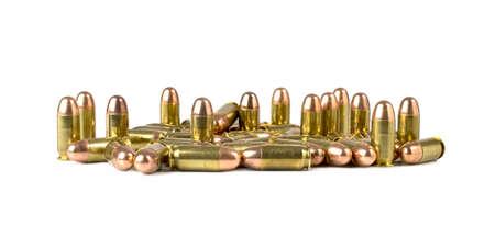 45 ammo: Bullets on white background