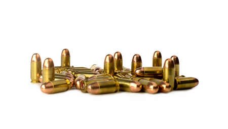 45 gun: Bullets on white background