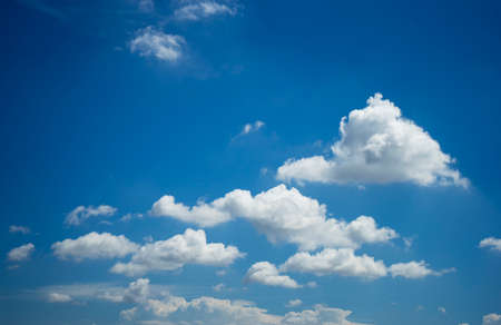 White clouds on clear blue sky Stock Photo
