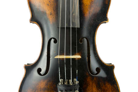 fingerboard: Close up body of old italian violin on white background.