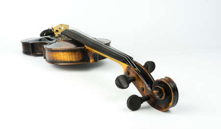 fingerboard: Perspective of old italian violin on white background.