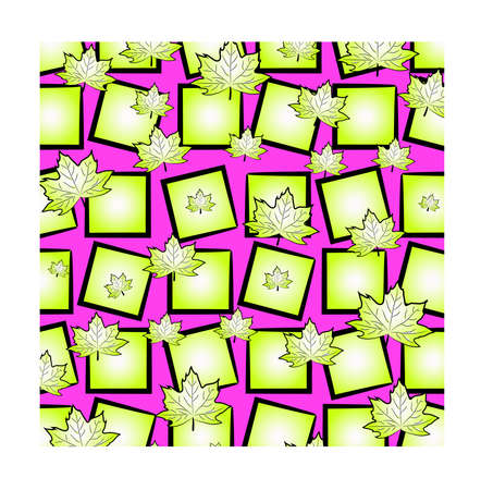 A bright funny pattern: chaotically scattered maple leaves and squares of light green on a pink background.