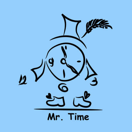 Abstract drawing Mr. Time: a clock in a hat and in boots on a blue background. Ilustração