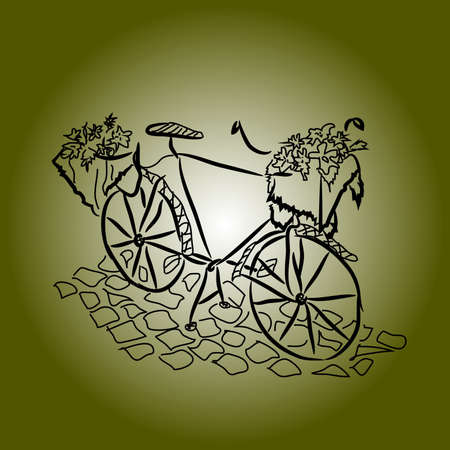 Graphic drawing: a retro bicycle with a basket of flowers on the stone pavement on a dark green background.