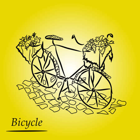 Graphic drawing: retro bicycle with a basket of flowers on the stone pavement on a beautiful yellow background. Illustration