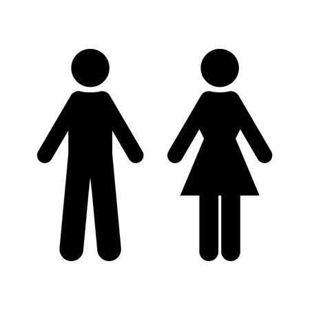 Flat vector: black silhouette of man and woman. Isolated sign, symbol on a white background. Simple symmetrical geometric contour. The figures are made in minimalist styles. Suitable for identifying gender differences, toilet designation, WC and other. Stok Fotoğraf - 101100959