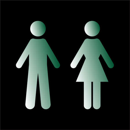 Flat vector: green silhouettes of man and woman. Isolated sign, symbol on a black background. Simple symmetrical geometric contour. The figures are made in minimalist styles. Suitable for identifying gender differences, WC design.