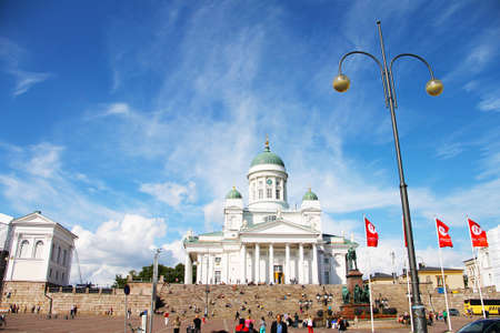Helsinki, Finland - August 15, 2014: Cathedral of St. Nicholas (Cathedral) - the main cathedral of the Evangelical Lutheran Church of Finland, located on Senate Square.