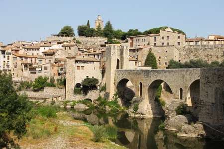 Spain, Besalu - June 28, 2012: the medieval city of Catalonia - national, historical and cultural monument of the country - an interesting open-air museum.