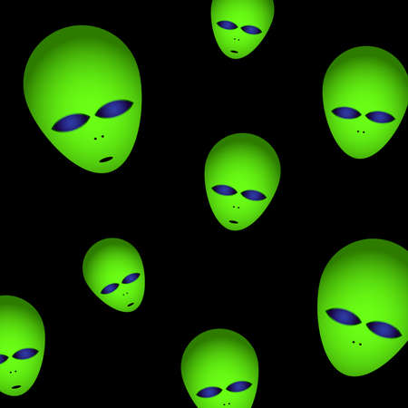Space drawing. The heads of aliens are green with large luminous eyes on a black background. Vector illustration. Illustration