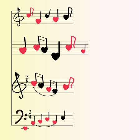 A musical mill with stylized notes, violin and bass keys, hearts. Musical romantic background. An interesting version of the texture for greeting cards or wrapping paper. Yellow background, red and black colors.