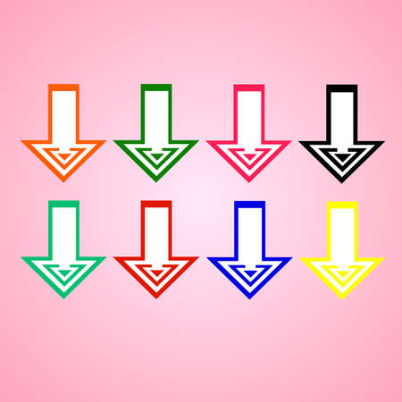 Flat vector: set of eight simple bright colored arrows on a pink background.