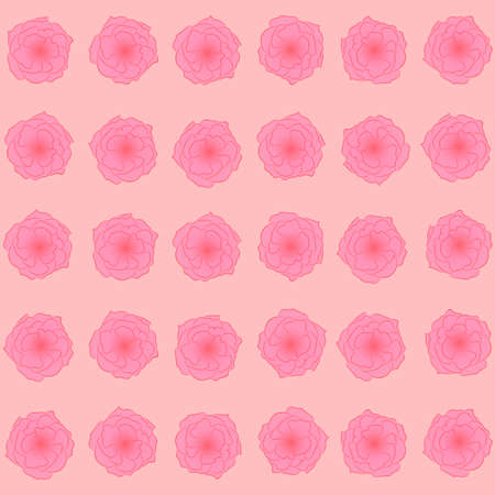 Blumenmuster: rosa Rosenknospen auf einem hellen Pfirsichhintergrund, schönes Frühlingsmuster. Vektorgrafik