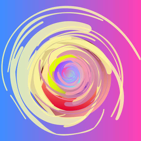 Abstract drawing. Spirals, fuzzy twisting circles, painted with large strokes. Alternative background. The main colors of the vector are shades of pink, blue, yellow. Illustration