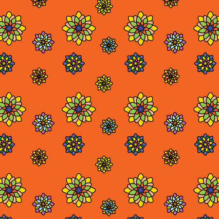 Floral vector pattern: multicolored flowers with many petals on an orange background. Main colors: yellow, orange, blue, pink. Summer, juicy, beautiful, bright texture.
