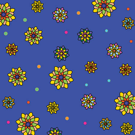 Floral vector pattern: multicolored flowers with many petals on a blue background. The main colors: yellow, orange, blue, pink, violet, purple. Summer, juicy, beautiful, bright texture.