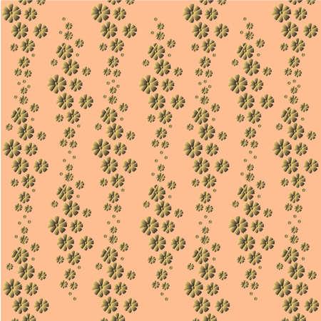 Blumenmuster: goldene kleine Blumen des Kosmos auf einem hellen Pfirsichhintergrund - schöner Pastelldruck. Vektorgrafik