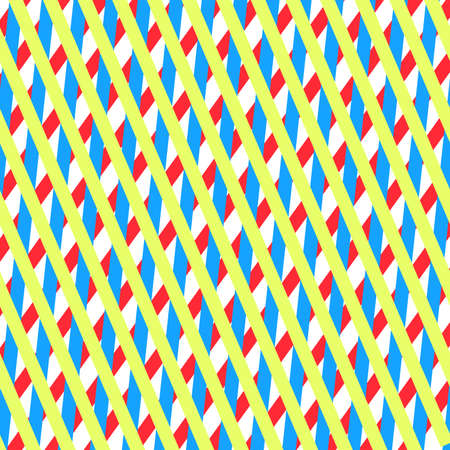 bright colored stripes (pink, blue, yellow) intersecting each other.