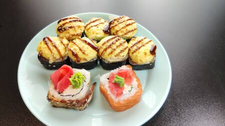 japanese sushi food. Rolls with tuna salmon. Top view of assorted sushi. Stock Photo
