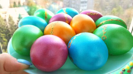 multi-color eggs. colored eggs for Easter holiday Banco de Imagens