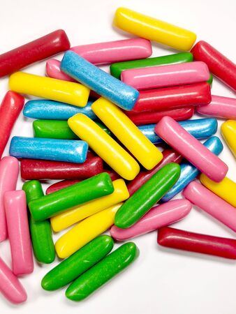 Bright colorful chewable candies, chewable marmalade isolated on a white background.