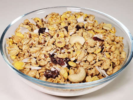 breakfast cereals in a bowl on a white background Standard-Bild