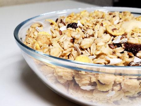 Granola for breakfast. A healthy, gluten-free vegetarian breakfast