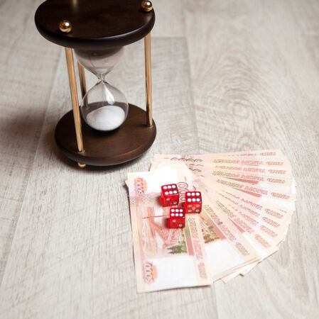 purchasing power: currency exchange rate, hourglass, winnings Stock Photo