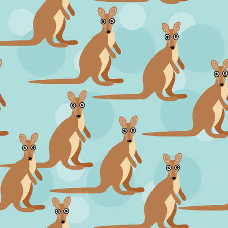 Seamless pattern with funny cute kangaroo animal on a blue background  Vector  cheerful; funny; zoo; pattern; seamless; texture; wallpaper;  Vector