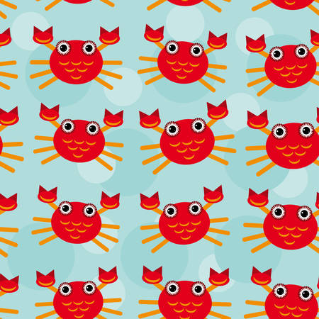 Red crayfish Seamless pattern with funny cute animal on a blue background  Vector  wallpaper  simple flat, fashion backdrop creative textile fabric Vector