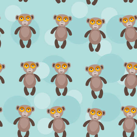 primate: Seamless pattern with funny cute monkey animal on a blue background  Vector monkey primate clip-art