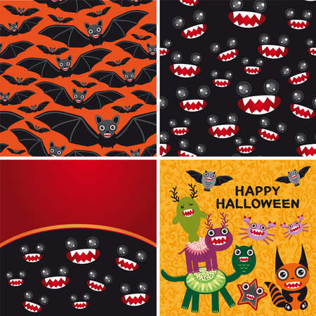 Happy Halloween set of two seamless patterns and two cards. Bats, monsters october Vector