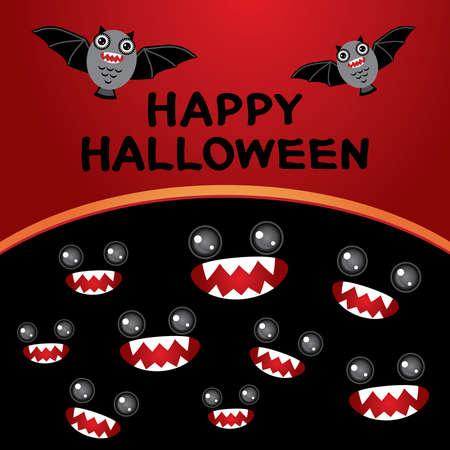 monster cartoon: Happy Halloween  card. Bats, monster cartoon Black and red