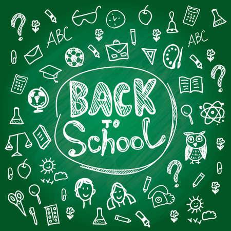 Set back to school. Blackboard chalk sketch. White line on a green background Vector