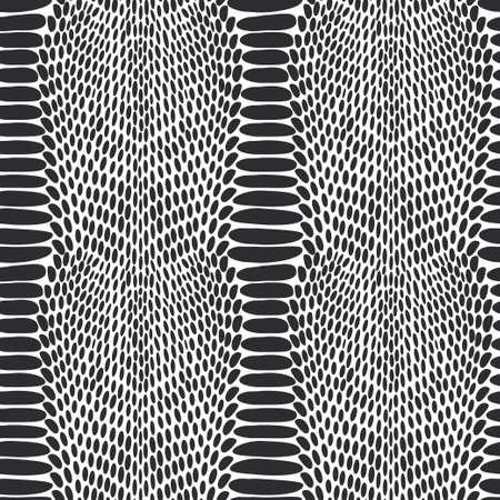 ヘビ皮膚の質感。白い背景に黒のシームレスなパターン。  イラスト・ベクター素材