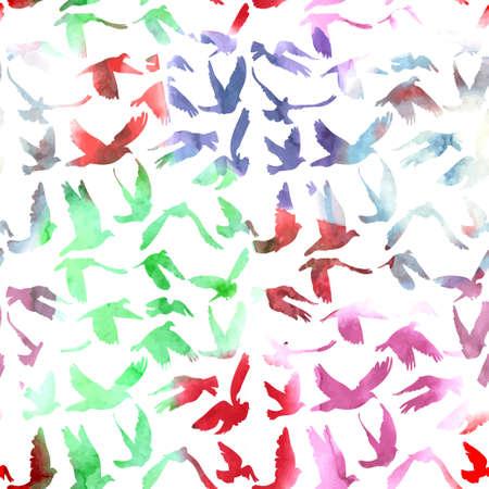 Aquarell Tauben nahtlose Muster auf weißem Hintergrund für den Frieden Konzeption und Hochzeit Design. Standard-Bild - 31538971