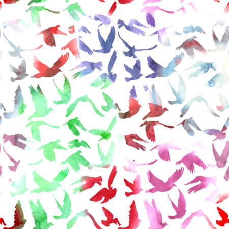 Watercolor Doves and pigeons seamless pattern on white background for peace concept and wedding design. Ilustração
