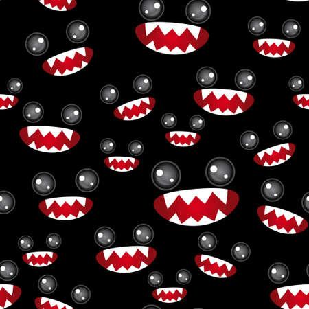 изумление: Монстры глаза и зубастый рот на черном фоне.