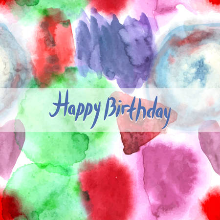 Happy Birthday Card. Abstract watercolor art hand paint pattern on white background.  Vector