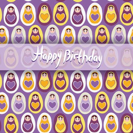Happy Birthday Card. pattern orange Russian dolls matryoshka on a purple background. Vector