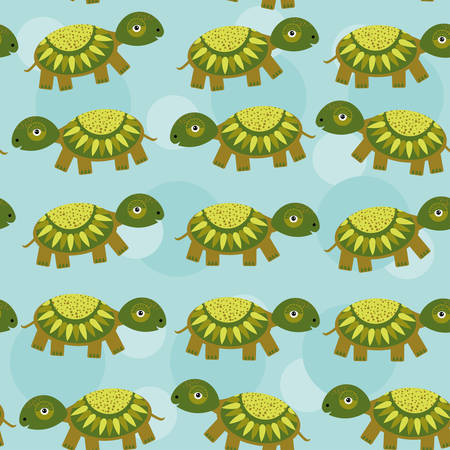 turtle Seamless pattern with funny cute animal on a blue background. Vector