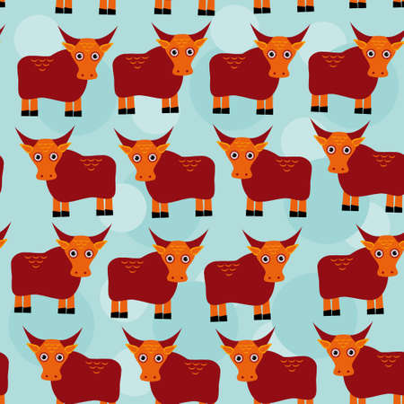 yak: asian yak bull Seamless pattern with funny cute animal on a blue background.