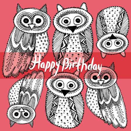 Happy birthday Decorative Hand dravn Cute Owl Sketch Doodle black contour on a pink background.  Vector