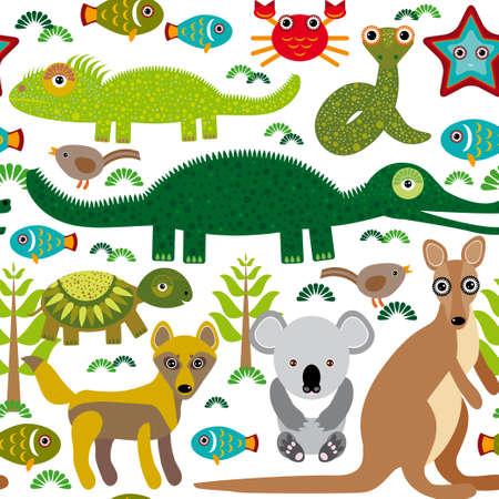 dingo: Animals Australia Seamless pattern on a white background.