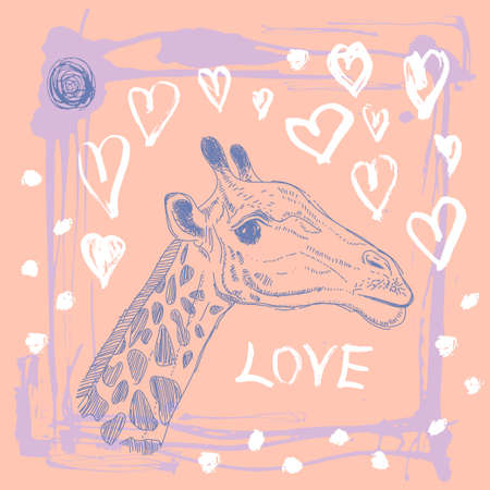 Card with cute giraffe and heart. Vector