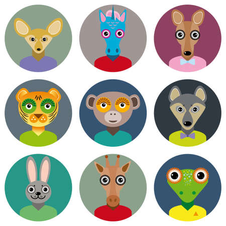 Set of animals faces circle icons set in Trendy Flat Style.  Vector